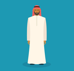 Arabic man with traditional muslim clothes. Cartoon arabic character. Vector flat stock.