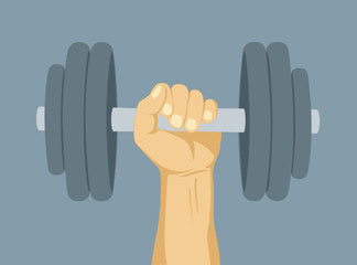 Hands lifted dumbell weight - winer and strength concept