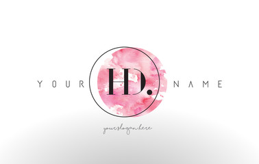 HD Letter Logo Design with Watercolor Circular Brush Stroke.
