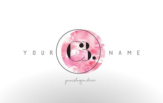 CB Letter Logo Design with Watercolor Circular Brush Stroke.