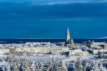 Keuken foto achterwand Dubai View over Reykjavik in winter - breathtaking Iceland in winter - amazing landscapes, storms and blizzards - photographers paradise