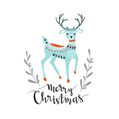 Merry Christmas - winter card with stylish lettering and cute deer.  Vector greeting card.