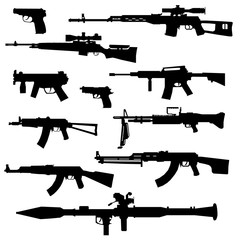 silhouette of various weapon