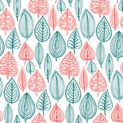 Seamless pattern with hand drawn doodle ornate leaves.