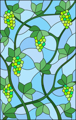 The illustration in stained glass style painting with a bunches of green grapes and leaves on blue background