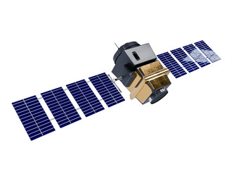 artificial satellite concept 3D rendering isolated on white