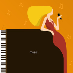 Music. Background with piano and the blonde singer. Vector flat illustration.