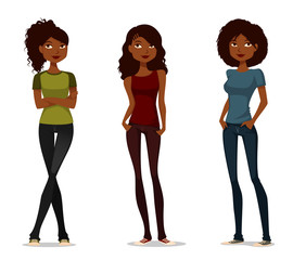 cute cartoon African American girls in casual clothes