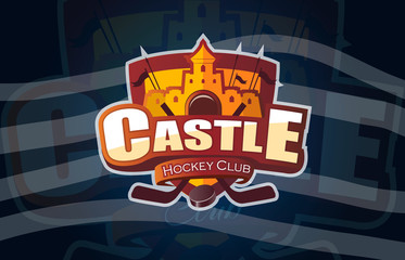 Hockey icon Castle logo, emblem pattern. Colorful hockey tournament stickers on shield with two crossed sticks. Vector isolated sports illustration design