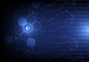 Abstract techology background digital network security with hexagon concept deign