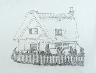 Ink line drawing of English thatched cottage with picket fence and garden.