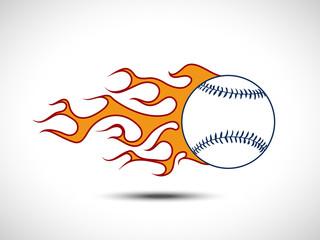 Color Baseball on Fire Logo. Fireball icon Vector Illustration. Sport Concept.