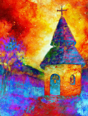 tiny historic belfry in rural landscape, graphic collage with light and color effect.