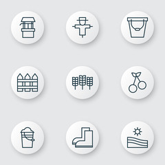 Set Of 9 Garden Icons. Includes Pail, Bucket, Gardening Shoes And Other Symbols. Beautiful Design Elements.