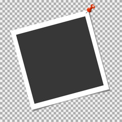 Photo frame with red pin on transparent background. Vector template for your trendy and stylish photo or image