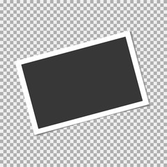 Photo frame on transparent background. Vector template, blank