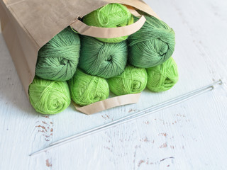 Yarn knitting green.