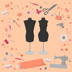 Sewing workshop equipment. Flat tailor shop design elements. Tailoring industry dressmaking tools icons. Fashion designer sew items