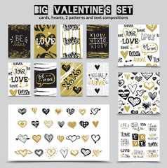 Big hand drawn St. Valentine's Day set with love doodle sketch lettering