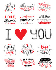 St. Valentine's Day hand lettered love confession greeting labels.