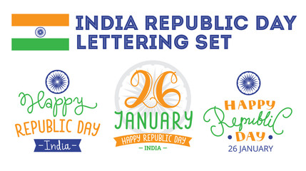 Indian Republic Day hand lettering labels.