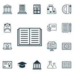 Set Of 16 Education Icons. Includes College, Education Tools, Diploma And Other Symbols. Beautiful Design Elements.