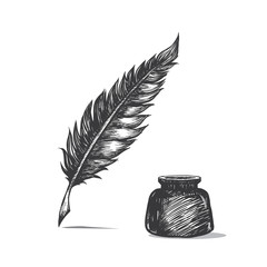 Feather pen and inkwell. Drawing of ancient pen on white background in doodle style. Concept for education.