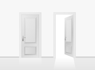 Open and closed the door on the gray wall background. Vector illustration.
