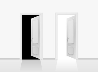 Two open doors on the gray wall background. Vector illustration.