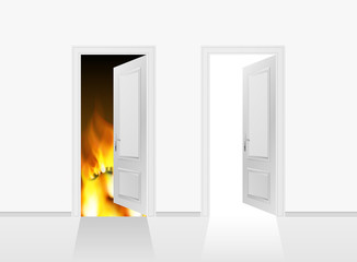 Doors to heaven and hell. Realistic 3d Vector illustration.