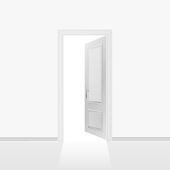 Grey wall with opened door. Vector illustration.