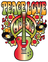 Peace-Love-Music in Red and Green