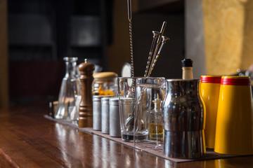 Bartender tools on bar
