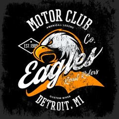 Vintage American furious eagle custom bike motor club tee print vector design isolated on dark background. Premium quality wild bird superior logo concept illustration.