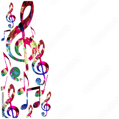 colorful music notes isolated vector illustration music background rh fotolia com Music Notes Vector Art Free White Music Note Vector