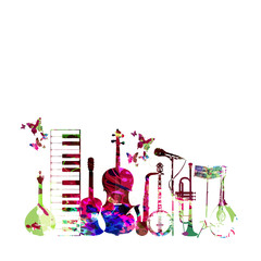 Colorful music instruments isolated vector illustration. Piano keyboard, guitar, trumpet, microphone, saxophone, violoncello, banjo, traditional Portuguese guitar, mandolin, music stand isolated
