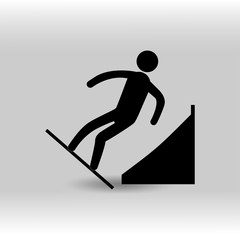 eps 10 vector Snowboard Parallel Giant Slalom sport icon. Winter sport activity pictogram for web, print. Black athlete sign isolated on gray. Hand drawn competition symbol. Graphic design clip art
