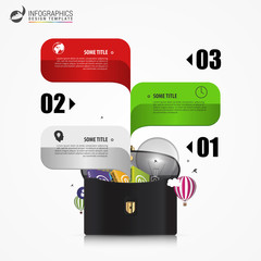 Creative briefcase. Infographic design template. Business concept