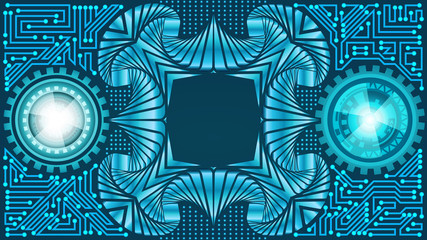 Abstract futuristic technology background of light and dark teal shades with metallic frame. Digital technology and engineering concept design