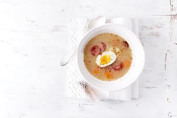 Polish Easter Soup made with Ray Flour, Egg and Sausage (Polish Zurek)