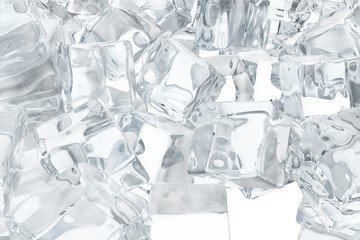 Ice cubes background, pile of white ice cubes. 3d rendering