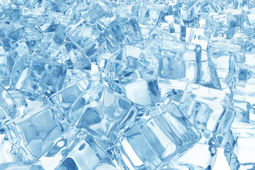 Ice cubes background, pile of blue ice cubes. 3d rendering