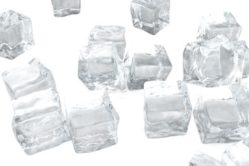Ice cubes isolated on white background. 3d rendering