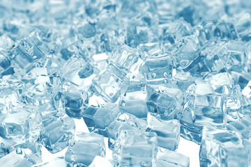 Heap of ice cubes. background of ice cubes with depth of field. 3d rendering