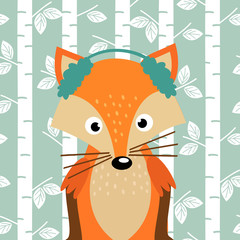 fox on background of birch trees - vector illustration, eps