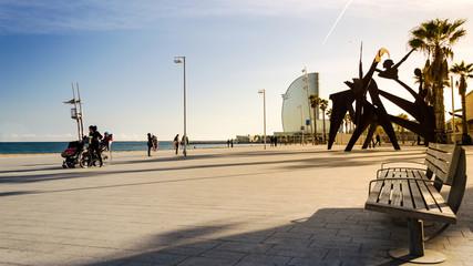 Strandpromenade in Barcelona, Spanien