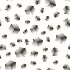Vector seamless abstract pattern with dotted cubes in a chaotic manner on a white background.