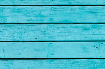 Texture Of Old Wooden Planks With Peeling Blue Paint.