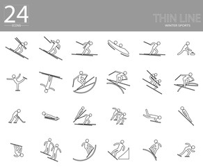 eps10 vector set of 24 winter sport icons. Thin line sport signs collection. Indoor and outdoor activities, single and team sport included. Graphic illustration clip art for design, mobile, web, print