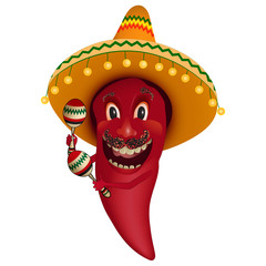 Red chili pepper dancing with maracas - Cartoon character paprika with mustache and sombrero, dancing and shaking maracas.